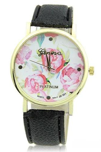 flower watch, flower leather watch, floral watch, black watch, leather watch, bracelet watch, vintage watch, retro watch, woman watch, lady watch, girl watch, unisex watch, AP00089