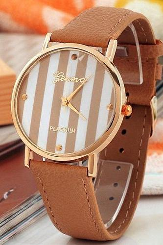 stripe watch, stripe leather watch, leather watch, bracelet watch, vintage watch, retro watch, woman watch, lady watch, girl watch, unisex watch, AP00102