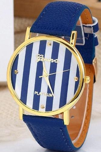 stripe watch, stripe leather watch, leather watch, bracelet watch, vintage watch, retro watch, woman watch, lady watch, girl watch, unisex watch, AP00103