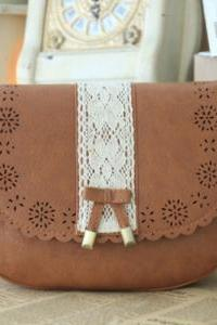 Laser Cut Sweet Lace Bowknot Cross Body Flap Bag