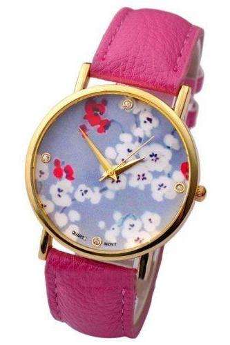 flower watch, flower leather watch, floral watch, leather watch, bracelet watch, vintage watch, retro watch, woman watch, lady watch, girl watch, unisex watch, AP00107