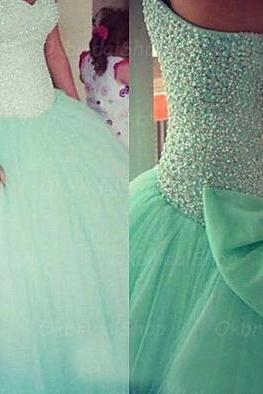 mint ball gown, quinceanera dress, rhinestone prom dress, chiffon prom dresses, chiffon prom dresses, 2015 prom dresses, sexy prom dresses, dresses for prom, CM254