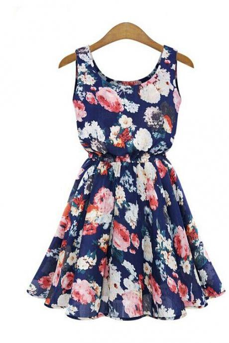 Women's Casual Blue O-Neck Floral Above Knee Sleeveless Pleated Dress