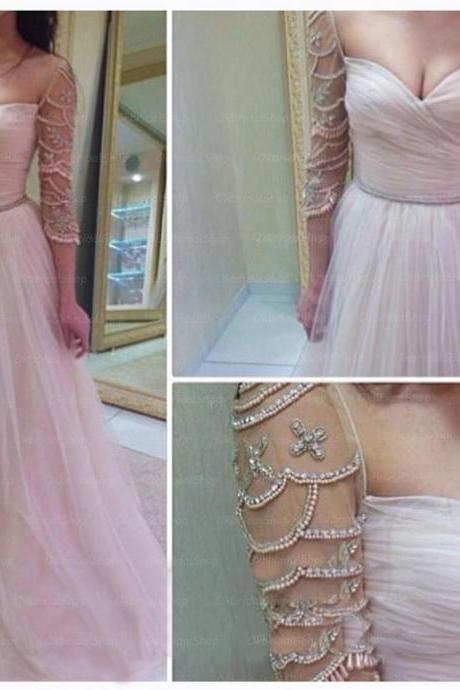 white prom dress, long sleeve prom dress, tulle prom dresses, sexy prom dresses, 2015 prom dresses, sexy prom dresses, dresses for prom, CM258