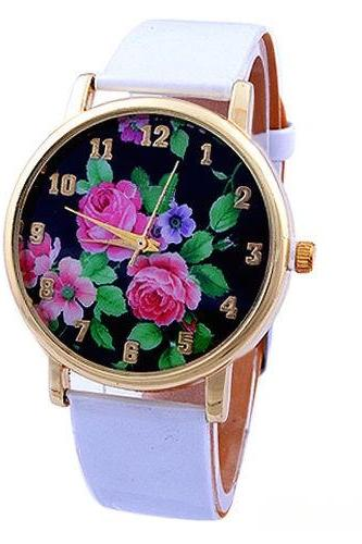 flower watch, flower leather watch, floral watch, leather watch, bracelet watch, vintage watch, retro watch, woman watch, lady watch, girl watch, unisex watch, AP00120