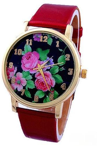 flower watch, flower leather watch, floral watch, leather watch, bracelet watch, vintage watch, retro watch, woman watch, lady watch, girl watch, unisex watch, AP00121