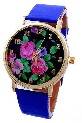 flower watch, flower leather watch, floral watch, leather watch, bracelet watch, vintage watch, retro watch, woman watch, lady watch, girl watch, unisex watch, AP00122