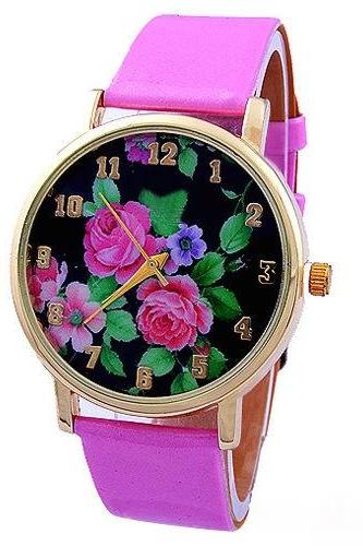 flower watch, flower leather watch, floral watch, leather watch, bracelet watch, vintage watch, retro watch, woman watch, lady watch, girl watch, unisex watch, AP00123