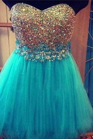 beaded tulle prom dresses, turquoise prom dress, sexy prom dresses, short prom dresses, 2015 prom dresses, sexy prom dresses, dresses for prom, CM266