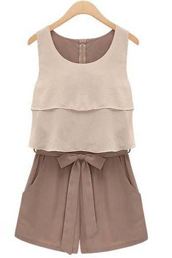 High Quality Sleeveless Color Blocking Rompers with Bow - Light Brown
