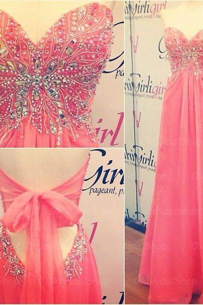 Red prom dresses, open back prom dress, chiffon prom dresses, long prom dresses, 2015 prom dresses, sexy prom dresses, dresses for prom, CM271