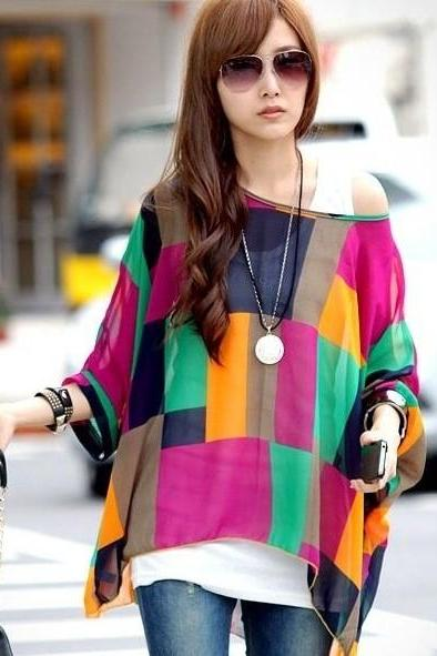 Purple O-Neck Patchwork Chiffon Blouse