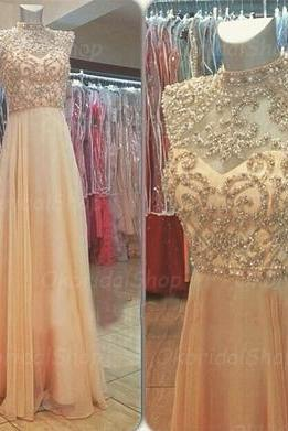 beaded prom dresses, champagne prom dress, chiffon prom dresses, long prom dresses, 2015 prom dresses, sexy prom dresses, dresses for prom, CM290