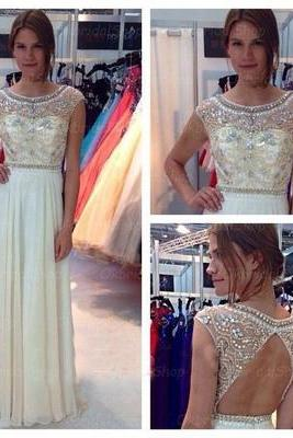 backless prom dresses, formal prom dress, beaded prom dresses, chiffon prom dresses, 2015 prom dresses, sexy prom dresses, dresses for prom, CM289