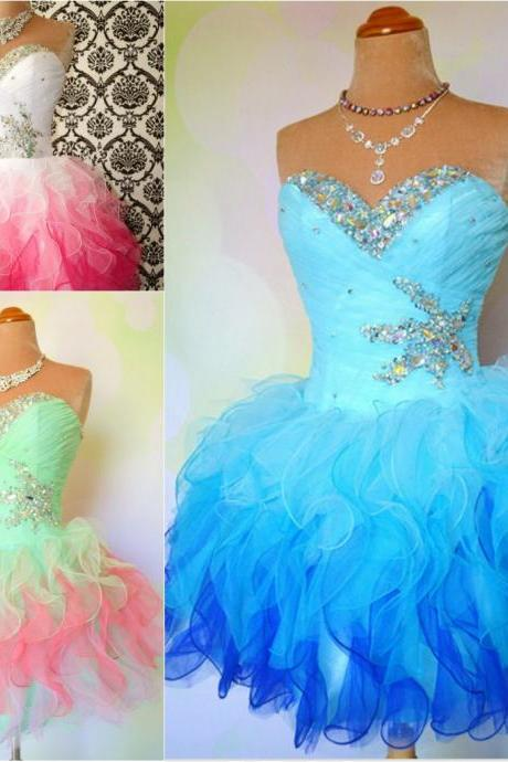 Custom Made Sexy Sweetheart Strapless Beads Short Prom Dresses Ruffles Ball Party Dresses Multi-Color Short Mini Organza Prom Dress,Homecoming Dress,Formal Dress