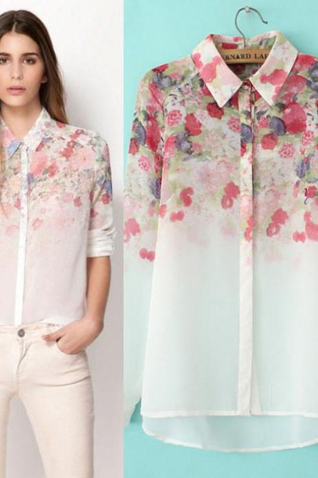 Dream Flower Print High-Low Shirt