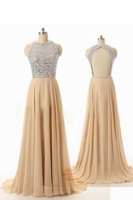 Custom Made A Line Round Neck Backless Long Prom Dresses
