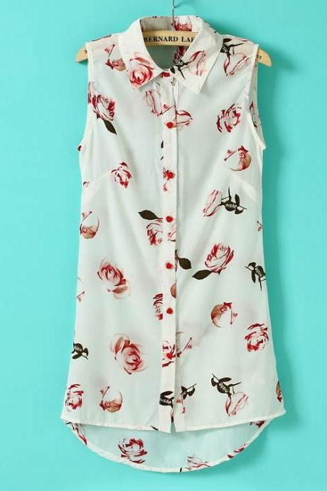 Flower Sleeveless High-low Shirt