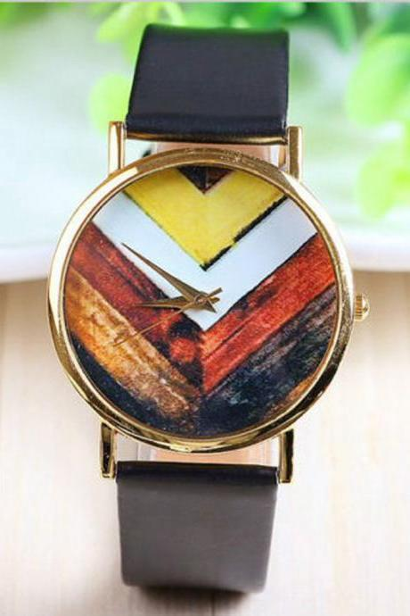 arrow watch, arrow leather watch, black watch, leather watch, bracelet watch, vintage watch, retro watch, woman watch, lady watch, girl watch, unisex watch, AP00126