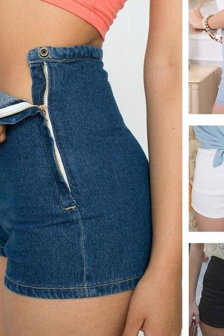 Summer Women Slim High Waist Jeans Denim Tap Short Hot Pants Tight A Side Button