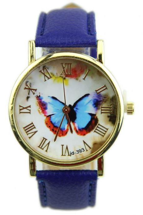 butterfly watch, leather watch, bracelet watch, vintage watch, retro watch, woman watch, lady watch, girl watch, unisex watch, AP00135