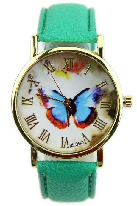 butterfly watch, leather watch, bracelet watch, vintage watch, retro watch, woman watch, lady watch, girl watch, unisex watch, AP00138