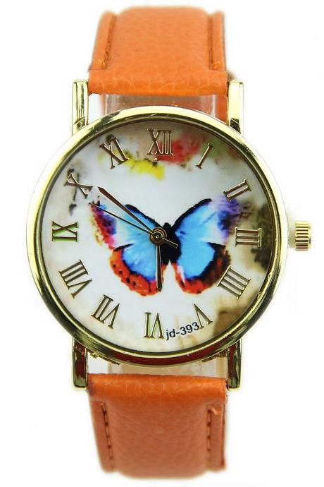 butterfly watch, leather watch, bracelet watch, vintage watch, retro watch, woman watch, lady watch, girl watch, unisex watch, AP00139