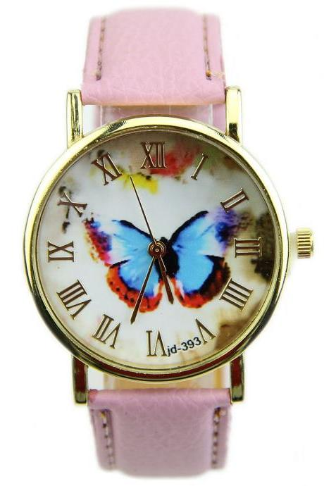 butterfly watch, leather watch, bracelet watch, vintage watch, retro watch, woman watch, lady watch, girl watch, unisex watch, AP00140