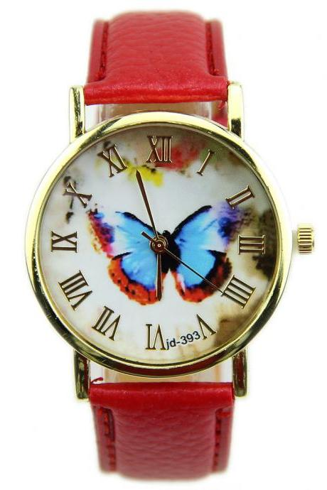 butterfly watch, leather watch, bracelet watch, vintage watch, retro watch, woman watch, lady watch, girl watch, unisex watch, AP00141