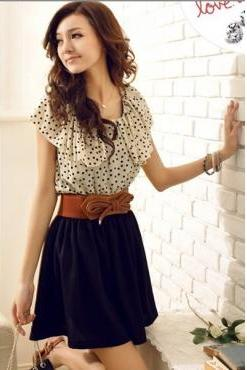 Polka Fashion O Neck Cap Sleeve Short Sleeve Waist Cotton Mini Dress