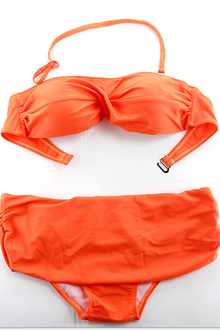 The New Fashion Pure Color Women's Bikini Small Pure And Fresh And Backless Women's Bikini Separate 111