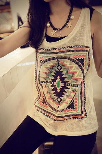 Chic Print Design Round Neck Vest For Woman