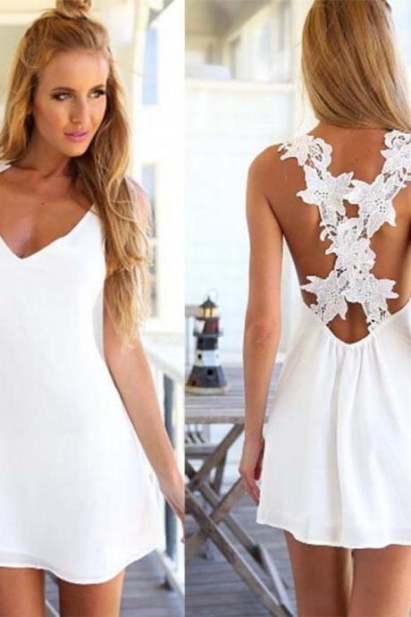 White lace sleeveless halter dress FVB