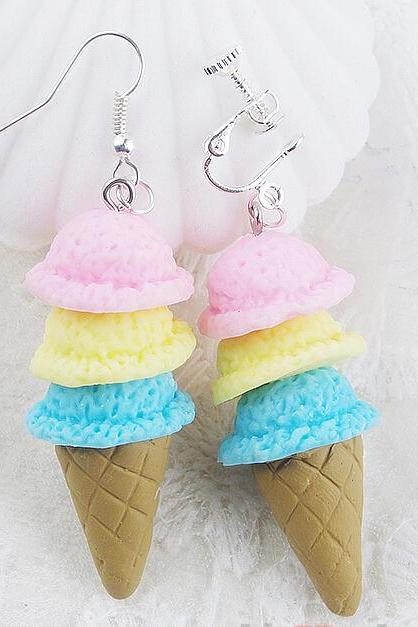 Cute sweet ice cream cones earrings ear clip