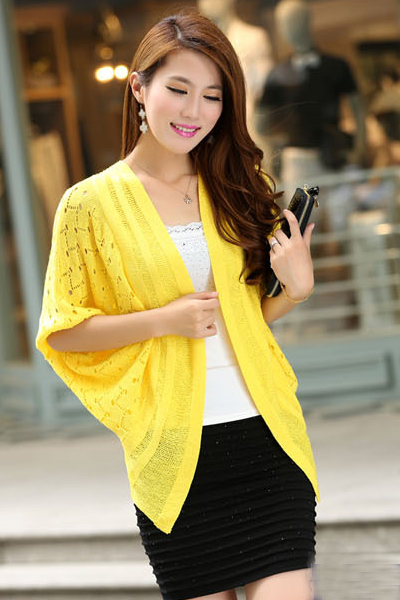 New Style Half Bat Sleeves Hollow-Out Yellow Regular Cardigan Sweater