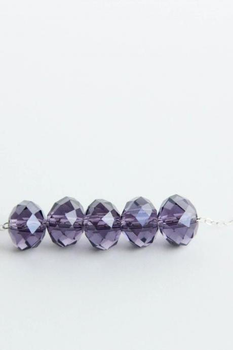 Violet Purple Floating Sterling Silver Necklace