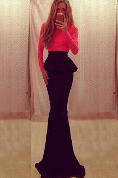 Sexy O Neck Long Sleeve Mermaid Red Floor Length Dress