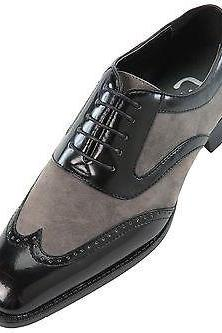 HANDMADE MENS OXFORD WING TIP SUEDE AND CALF LEATHER BLACK AND GRAY FORMAL SHOES