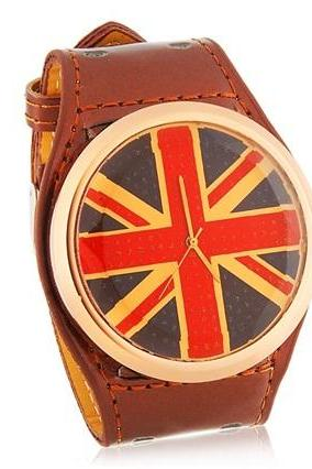 British National Flag Pattern Analog Watch with PU Leather Strap (Brown) M.