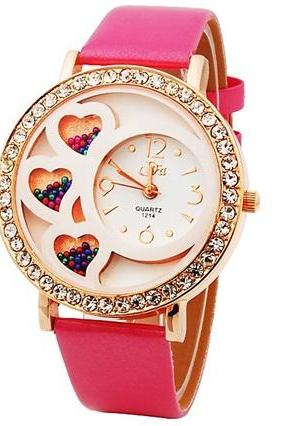 Dfa Round Dial Analog Watch with Crystals Beads Decoration (Rose) M.
