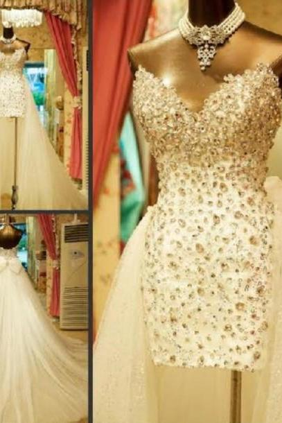 Custom Made High Low White Prom Dresses, High Low Wedding Dresses