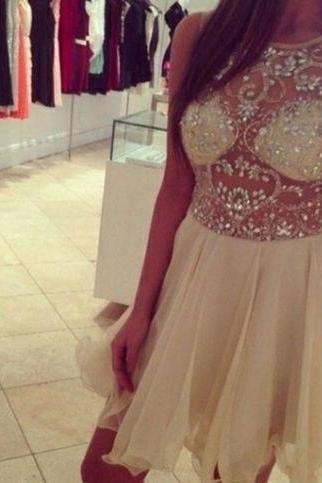Custom Made A Line Round Neck Short Sleeveless Prom Dresses, Short Graduation Dresses