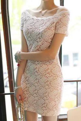 Sexy Lace Collar Package Hip Skirt