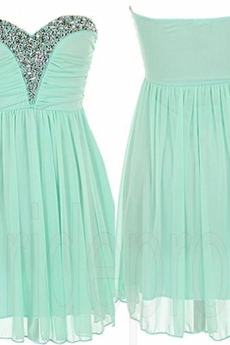 Mint Green Sweet Heart Chiffon Sleeveless Short Prom Dress Beaded Evening Party Gown Cocktail Bridesmaid Dresses Custom-made