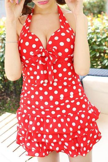 Beautiful Polka Dot Print One Piece Swimdress - Red