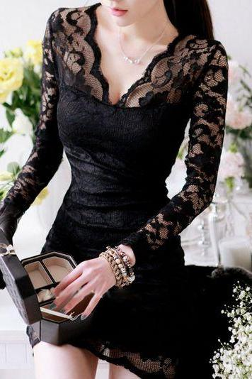 Sexy V Neck Black Lace Dress GB4