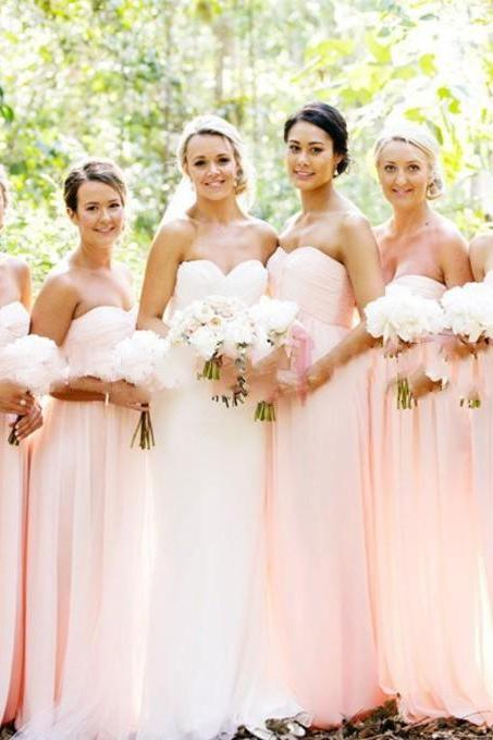 Pretty Simple Blush Pink Chiffon Sweetheart Bridesmaid Dresses, Handmade Pink Bridesmaid Dresses, Long Bridesmaid Dresses, Cheap Bridesmaid Dresses, Formal Dresses, Prom