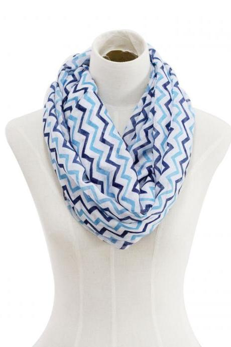 Spring summer blue chevron stripe Sheer cotton infinity scarf loop
