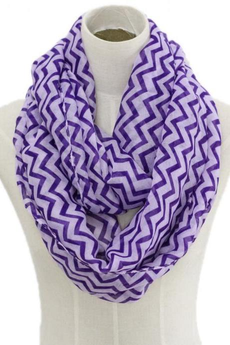 Spring summer purple chevron stripe Sheer cotton infinity scarf loop