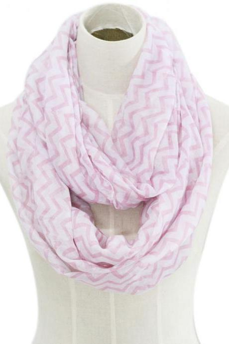pink chevron stripe Sheer cotton infinity scarf loop